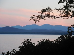 Sunset on Lake Champlain from Orchard Cove at Shelburne Farms.